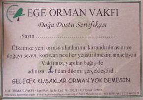 Ege Orman Vakfı Fİdan Bağış Sertifikası