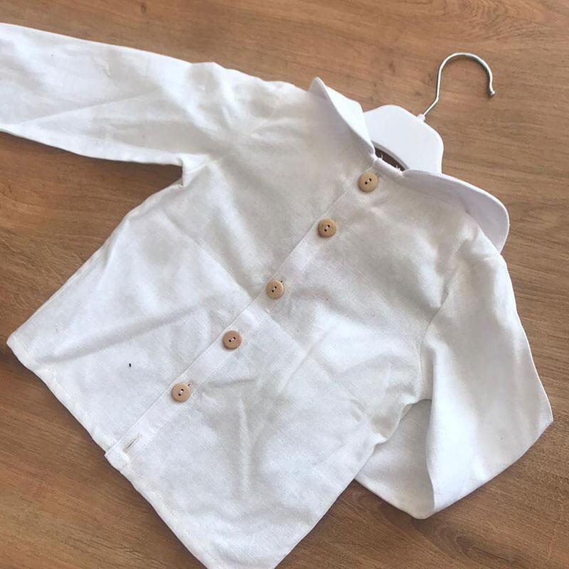 ekru renk uzun kollu bebek gömleği