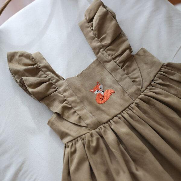 tilki desenli bej renk bebek elbisesi