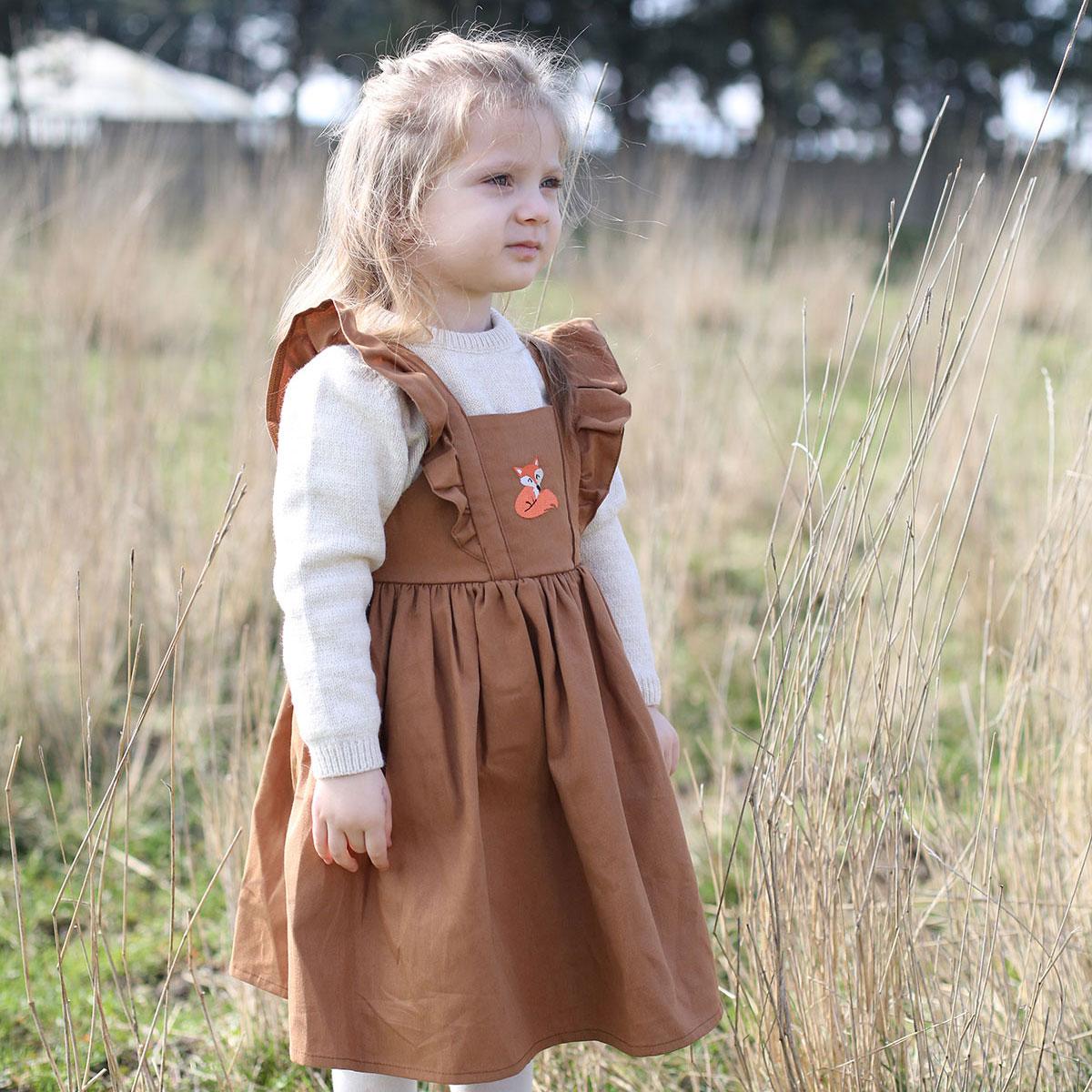 tilki nakışlı tarçın bebek elbisesi