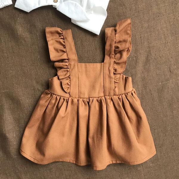 Askılı tarçın rengi bebek elbisesi