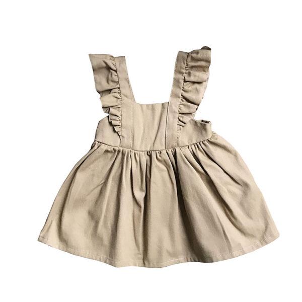 Askılı bej bebek elbisesi