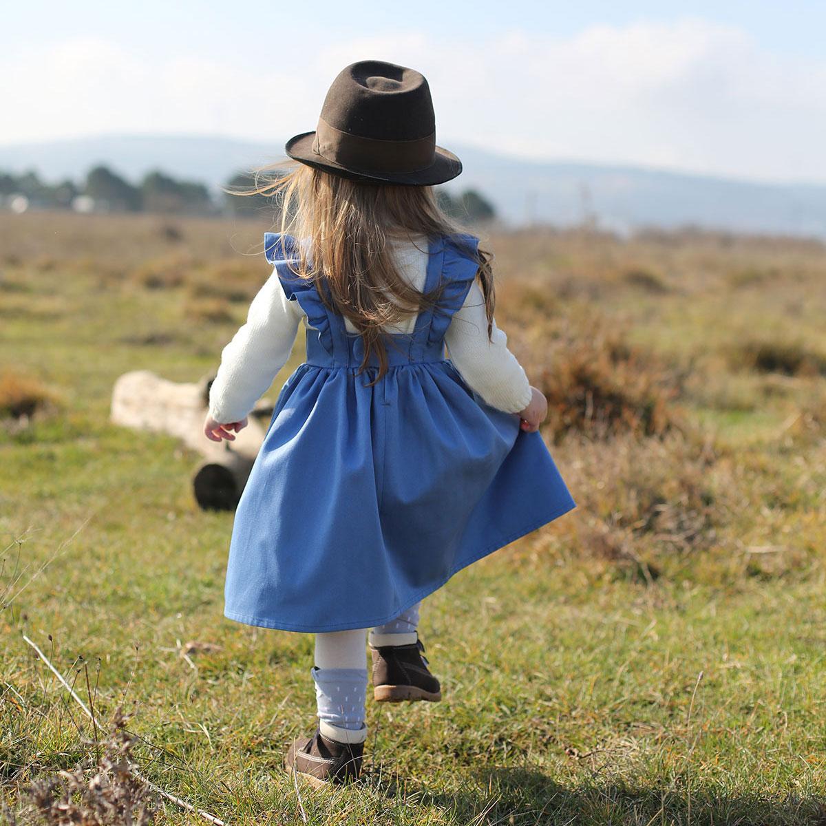 Askılı mavi bebek elbisesi
