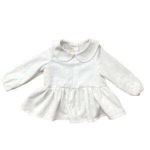 Bebe Yaka Fırfır Etekli Uzun Kollu Ekru Bebek Gömleği