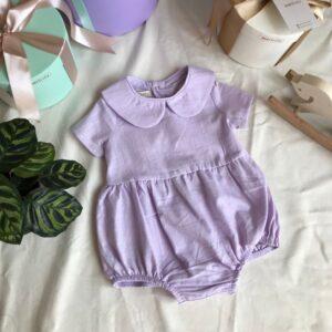 Bebe Yakalı Lila Bebek Tulumu 2