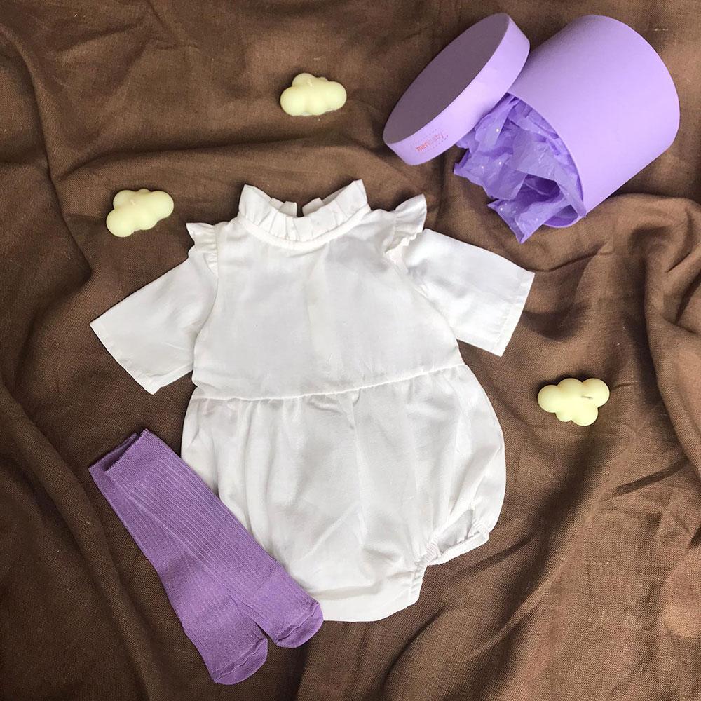 Beyaz Tulum + Çorap + Kutu Hediyeli Set Lila