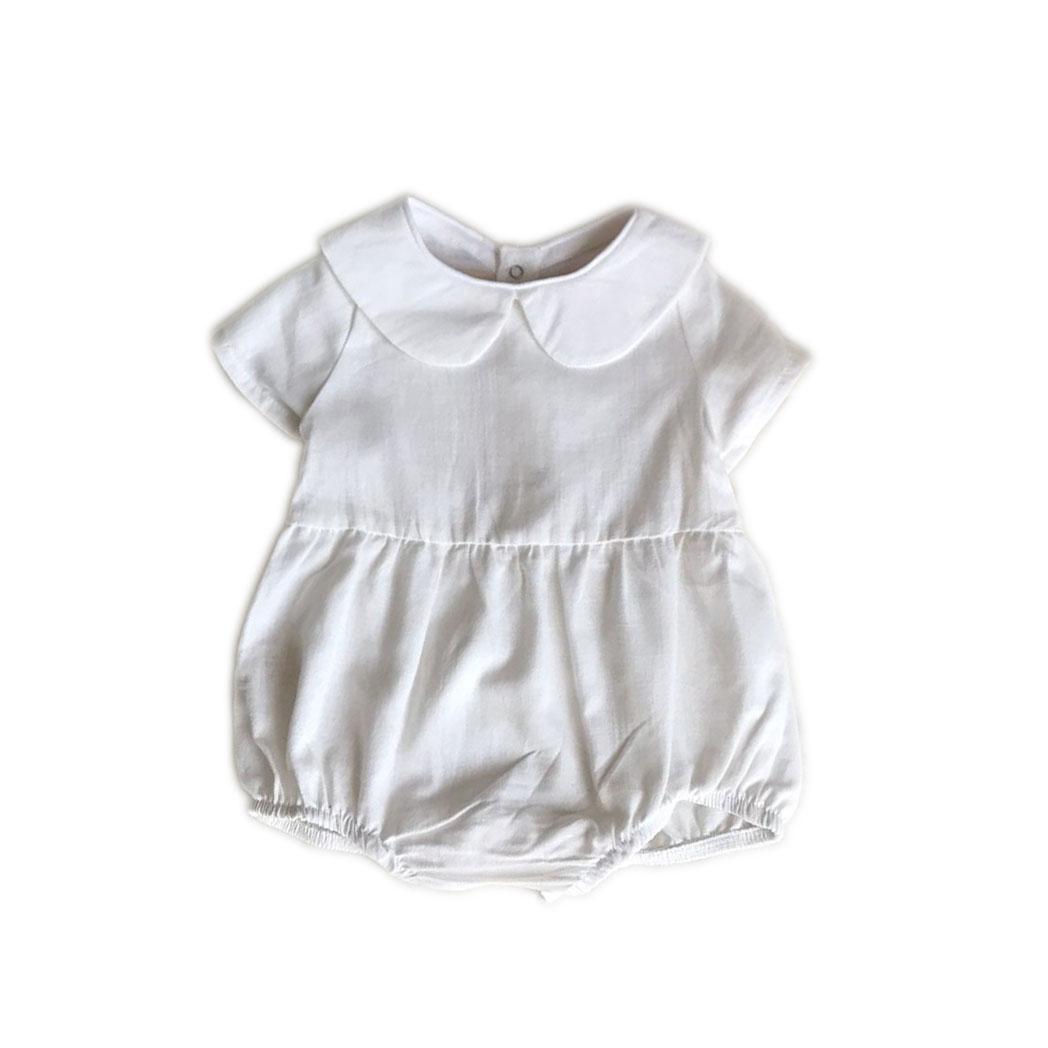 beyaz pamuk dokuma bebe yaka bebek tulumu