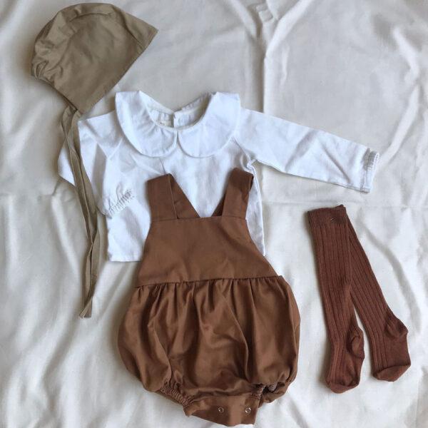 Pamuklu Bebek Seti Tulum+Şapka+Gömlek+Çorap