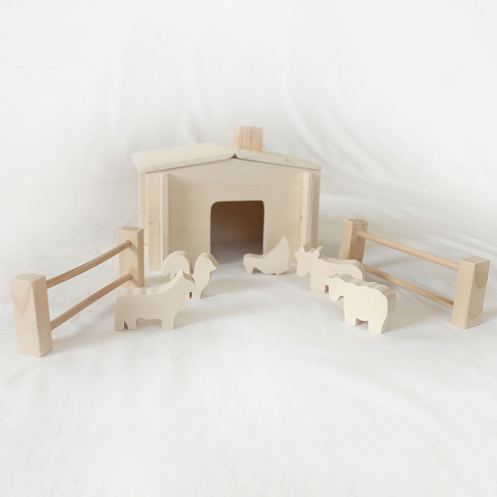 hayvan çiftliği doğal ahşap oyuncak